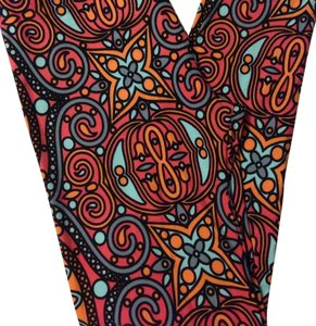 LuLaRoe NWT LulaRoe Leggings TC Coloring Book Paisley Swirl Black Coral Super Unicorn Leggings
