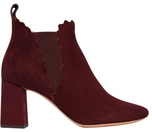 Chloé Scalloped Suede Bootie Wine Boots