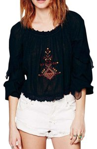 Free People Eyelet Festival Classic Banded Elastic Cropped Embroidery Top Black Multi