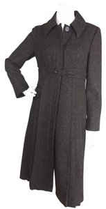 Susana Monaco Wool Pleated Belted Trench Trench Coat