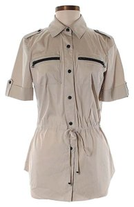 St. John Button-front Drawstring Top Beige