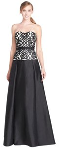 Aidan Mattox Ball Gown Satin Taffeta Strapless Embroidered Dress