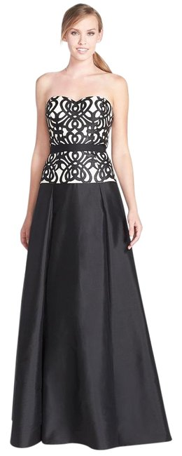 Item - Black & Ivory Embroidered Bodice Satin Taffeta Strapless Gown Long Formal Dress Size 14 (L)