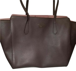 Gucci . Bamboo Swing Leather Tote in Taupe/pink