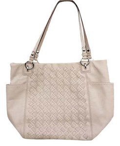 Coach Woven Textured Nickel Leather Tote in Putty