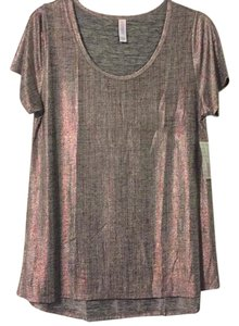 LuLaRoe T Shirt Silver and red
