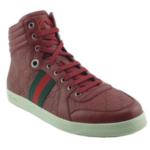 Gucci 221825 Leather High Top Red Athletic