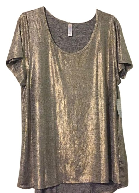 LuLaRoe T Shirt Silver and gold