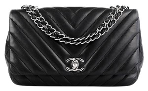 Chanel Chevron Flap Silver Shoulder Bag