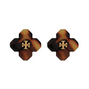 Tory Burch Babylon Logo Resin Stud Earrings, Tortoise
