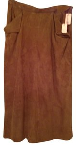 Other Suede Midcalf Skirt Tan