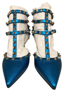 Valentino Rockstud Stud Studded Kitten Stiletto blue Pumps