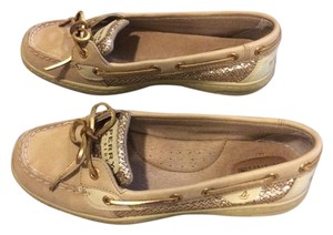 Sperry Leather Glitter Tan / Gold Flats