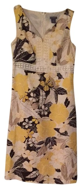 Preload https://img-static.tradesy.com/item/2028110/ann-taylor-yellow-white-brown-workoffice-dress-size-0-xs-0-0-650-650.jpg