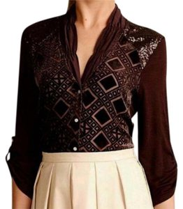 Anthropologie Mixed Media Velvet Burnout Button Down Shirt Brown