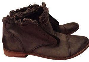 Free People Black/ Grey Distressed Boots