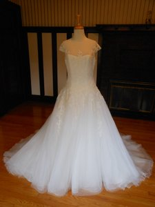 Pronovias Off White Lace Olura Destination Wedding Dress Size 14 (L)