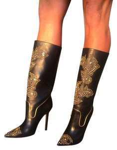 Versace Studded Leather Black and Gold Boots