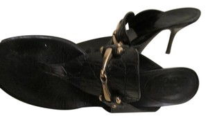 Gucci Black with Gold logo Sandals