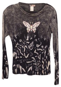 Bejeweled by Susan Fixel Bling Cotton Knit Large Top Black & white + multi-color