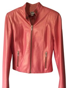 Cache Coral Metallic Leather Jacket