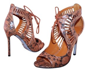 Sergio Rossi Snakeskin Sandal Pump Brown Pumps