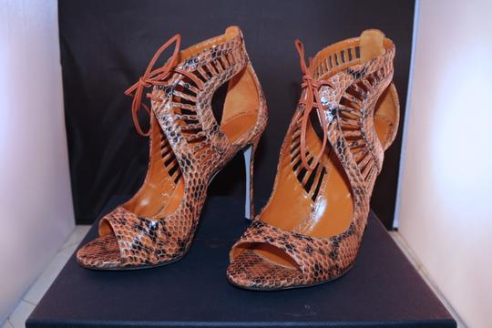 Sergio Rossi Snakeskin Sandal Stiletto Luxury Brown Pumps