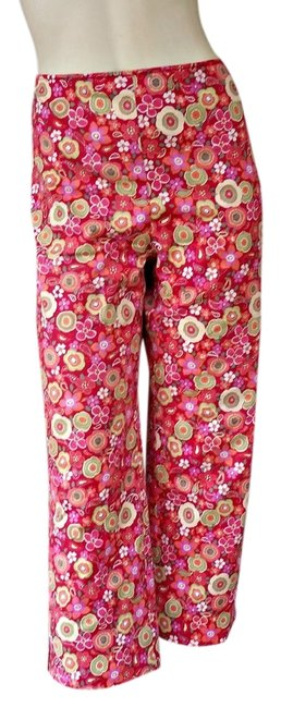 Muse Floral Colorful Cropped Rear Zipper Capris Multi-colored