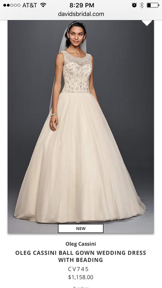 Olga Champagne Varies Ball Gown Traditional Wedding Dress Size 8 (M ...