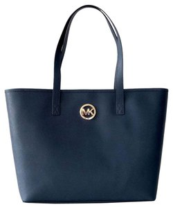 Michael Kors Jet Set Travel Saffiano Leather Mk Navy Blue Tote in Navy/Gold