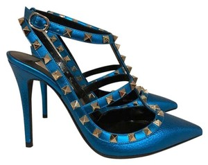 Valentino Rockstud Stud Studded Stiletto Leather blue Pumps