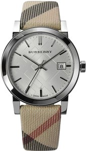 Burberry Burberry Women's The City Check Leather Silver Tone Steel Watch BU9113