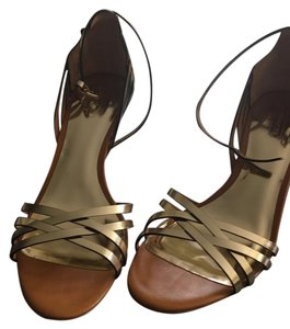 Coach Gold and saddle Sandals