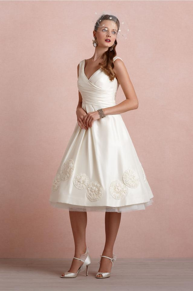 Anthropologie Ivory Silk Pinwheel Tea Vintage Wedding Dress Size 0 ...