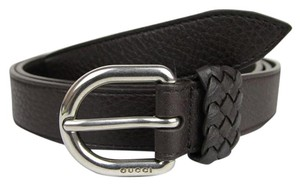 Gucci Dark Brown Leather Wrap Belt with Orval Buckle 90/36 336828 2140