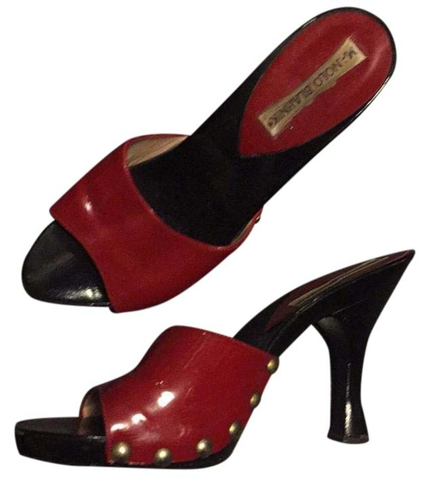 Manolo Blahnik Black And Red Sandals | Sandals on Sale