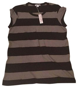 James Perse Striped T Shirt Black and gray