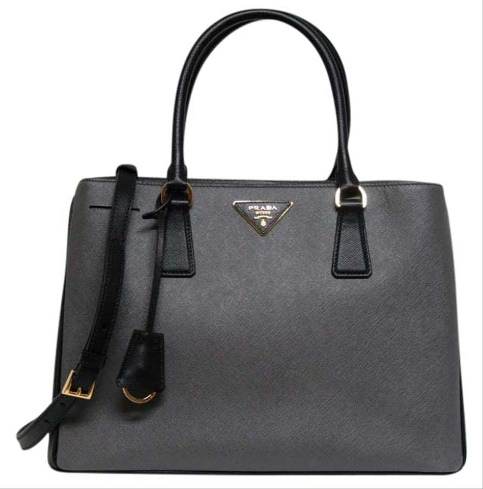 b630fcc1e951 Prada Double New Bi-color Saffiano Medium Zip Top-handle Black Grey Leather  Tote