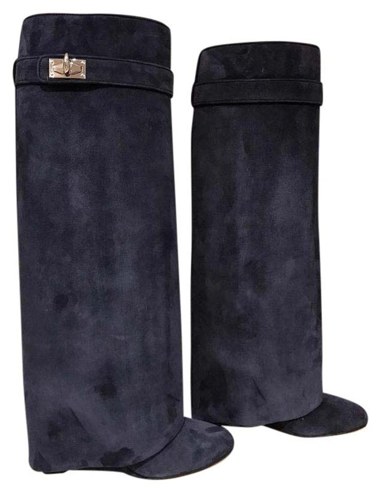 Givenchy Blue Navy Lock Marine Suede Shark Tooth Lock Navy Wedge 36 Boots/Booties 71a8b3