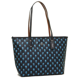Coach Black Leather Floral Flowers Tote in blue