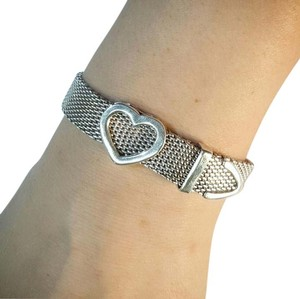 Tiffany & Co. Tiffany And Company Somerset Wide Mash Open Heart Bunco Clasp Adjustable Bracelet In Sterling Silver.
