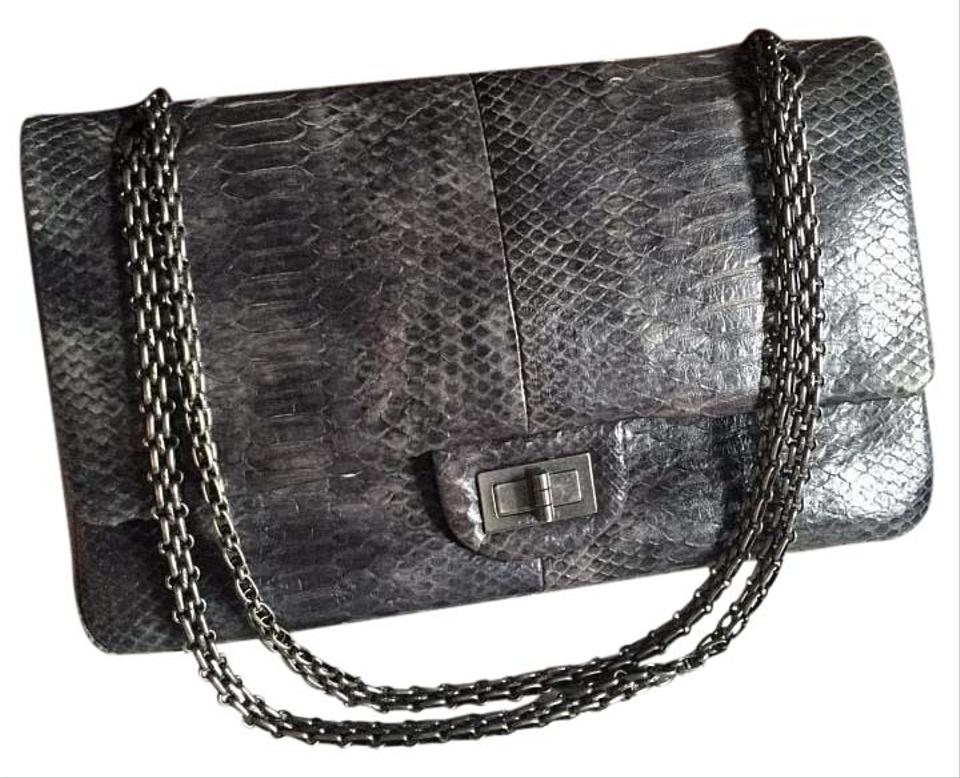 cbe0ee649ceb Chanel 2.55 Reissue Python Jumbo Flap Grey Shoulder Bag - Tradesy