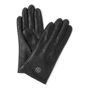 Tory Burch Tory Burch Black Leather Logo Tech Gloves