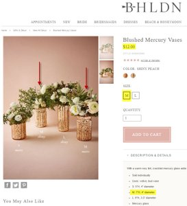 BHLDN Shiny Peach & Matte Mauve Blushed Mercury Vases (Medium) Centerpiece