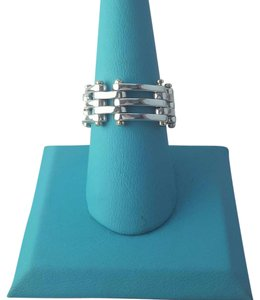 Tiffany & Co. Tiffany And Company Gate Link Modern 18 Karat Yellow Gold And Sterling Silver Ring.