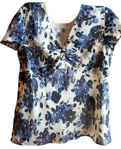 Nine & Co. Floral Polyester Short Sleeves Top Cream blue flowers