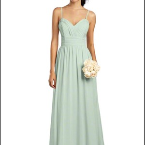 Alfred Angelo Sea Mist Chaffon Traditional Bridesmaid/Mob Dress Size 4 (S)