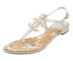 Chanel Interlocking Cc Embellished Gold, Beige Sandals