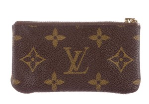 Louis Vuitton Brown, beige LV monogram leather Louis Vuitton key pouch