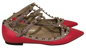 Valentino Rockstud Stud Studded Strappy Ankle Strap red Flats